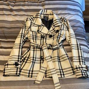 White plaid dressy coat